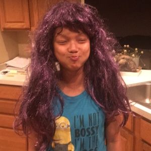 Purple wig with glitter wore twice to a Ravensgame